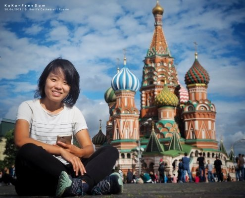 Wimonrat Sangthong visiting Red Square in Moscow, Russia.
