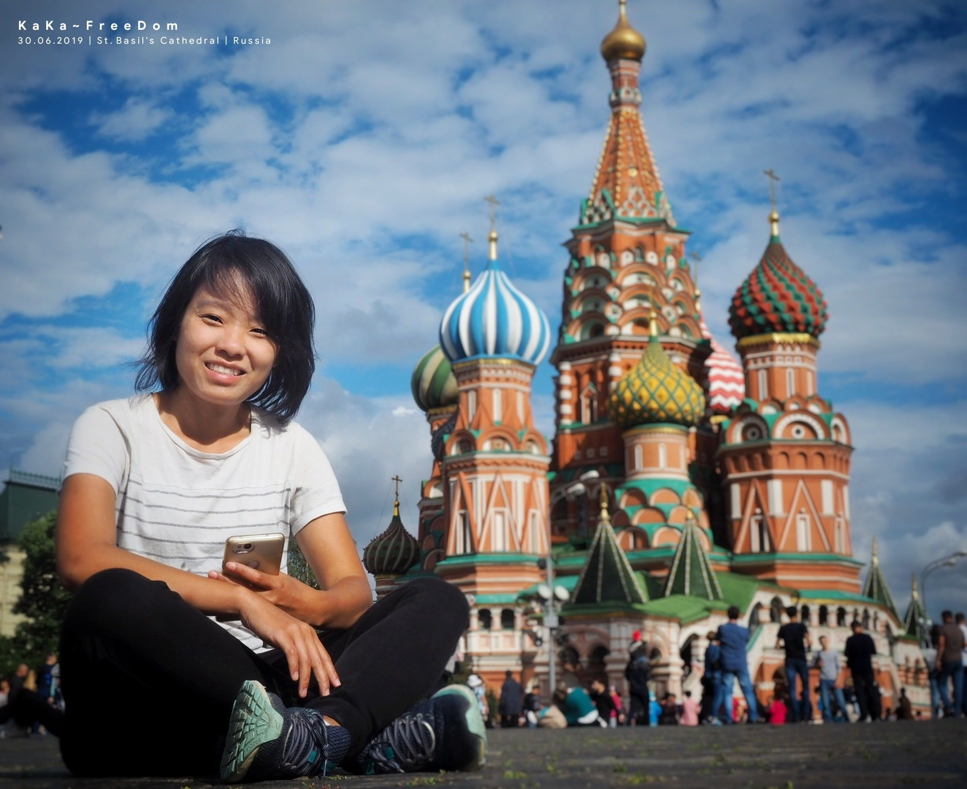 Last year, Wimonrat Sangthong traveled around the world for five months. Here she is in Red Square in Moscow, Russia. St. Basil's Cathedral is in background.