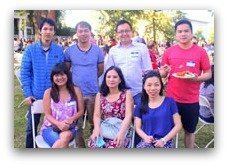 Vietnamese group at garden party