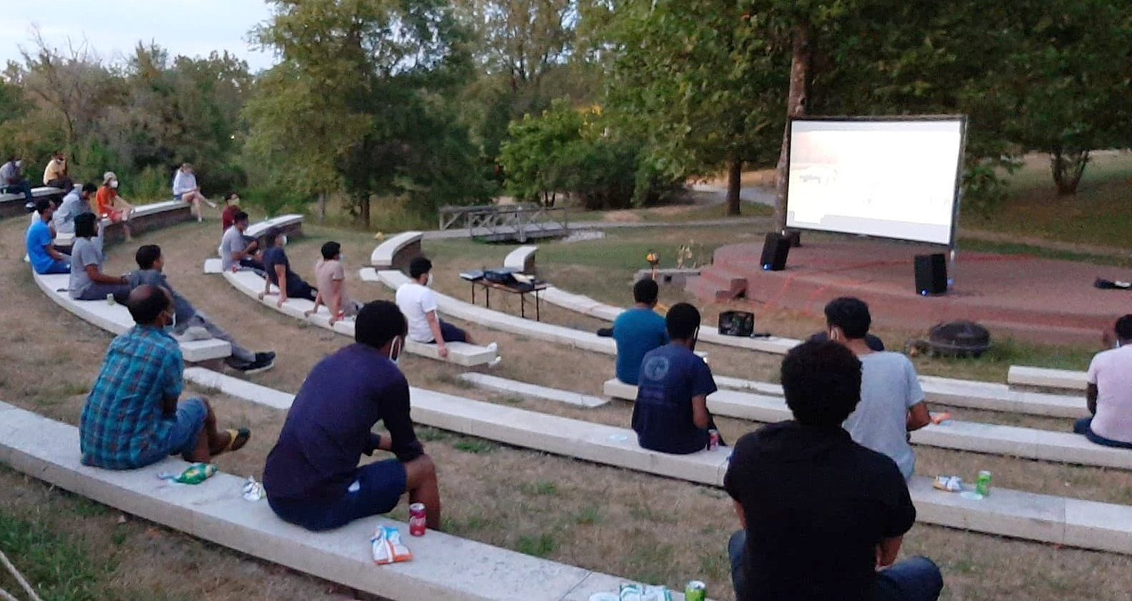 Students safely enjoy movies in the park on pleasant weekend evening--masks and distancing mandatory!